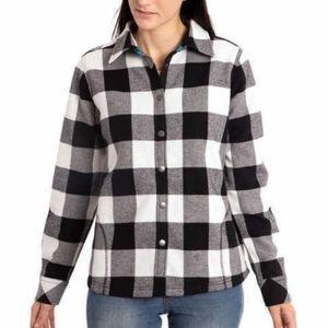 ORVIS Fleece Lined Flannel Plaid Shirt Jacket B&W
